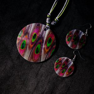 Square Multi Peacock Pattern Print Goa Shellcraft Necklace Sets